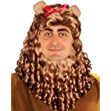 Cowardly Lion Wig, Cowardly Lion Costume Adult, Lion Costume Wig Mane Curly Wig, Beard, and Ears Set Brown King Lion Mane Cos