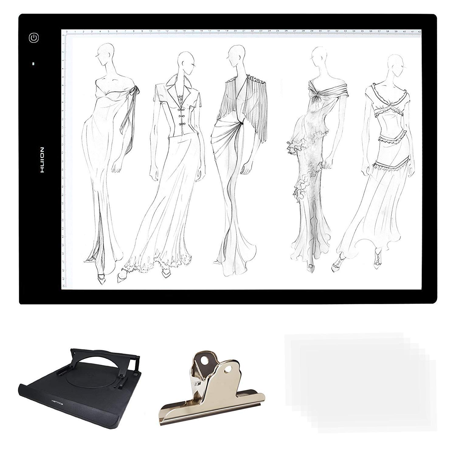 HUION A3 Size Lightness Adjustable Built-In Battery USB Cable Drawing Tracing Stencil Board Tattoo Light Box with Kenting Stander, Clip, 6 Pcs of Tracing Paper, Cleaning Cloth by HUION