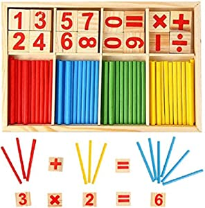 KUTOI Counting Number Blocks and Sticks   Montessori Toys for Toddlers   Homeschool Supplies for Math manipulatives   Educational Wooden Math Educational Number Cards and rods with Storage Tray