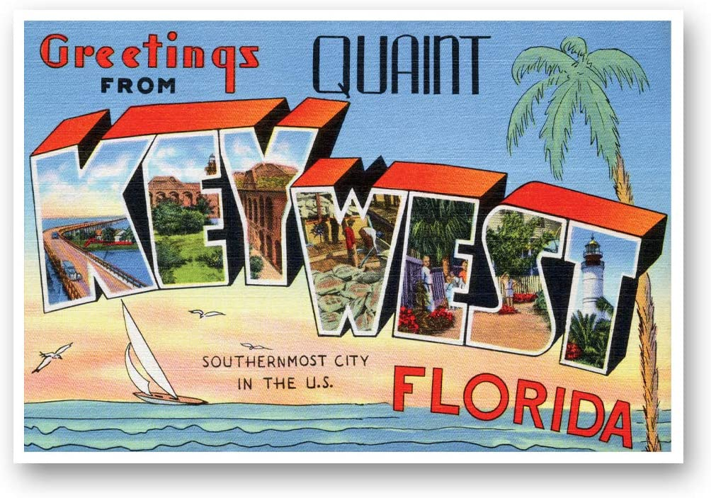 GREETINGS FROM KEY WEST, FL vintage reprint postcard set of 20 identical postcards. Large Letter Key West, Florida city name post card pack (ca. 1930's-1940's). Made in USA.