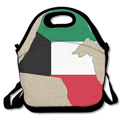 Bandera de Kuwait Unisex Gourmet aislante almuerzo Tote desmontable ajustable correa de hombro reutilizable bolsa de