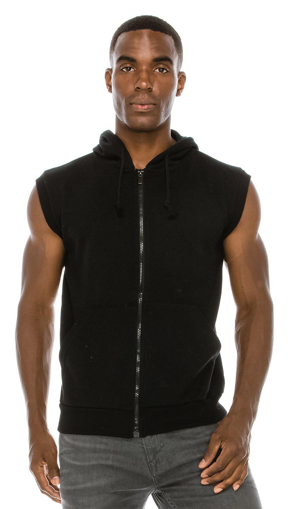 a5daaf8d547f0 Galleon - Angel Cola Men s Sleeveless Hoodie Zip Up Vest PT601 N.Black S