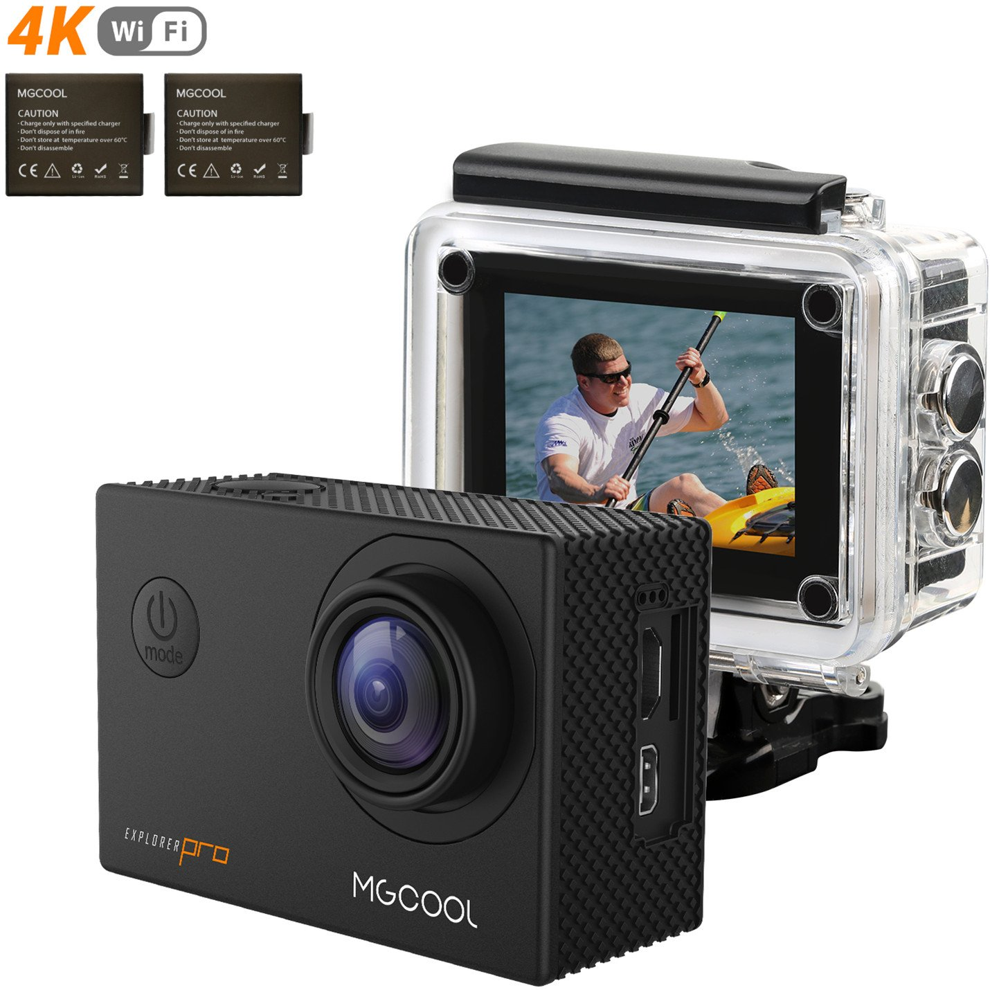 MGCOOL PRO 4K 16MP WIFI Action Camera Sony Sensor 2.0 Inch Ultra HD Underwater Waterproof Sports Action Cam with 2 Batteries and Helmet Accessories Kit, Christmas Gift by MGcool