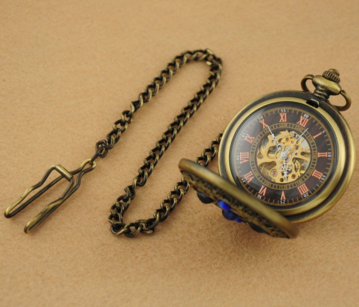 VIGOROSO Men's Vintage Noble Bronze Blue Stone Gold Skeleton Steampunk Mechanical Pocket Watch in Box 5