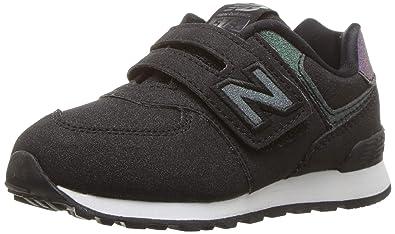 0f08aa6e4a0cb New Balance Girls' 574v1 Sneaker, Black/Multi, 2 M US Infant