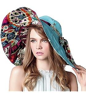 89d3761dedd Lanzom Womens Large Brim Floppy Foldable Roll up Beach Cap Sun Hat UPF 50+