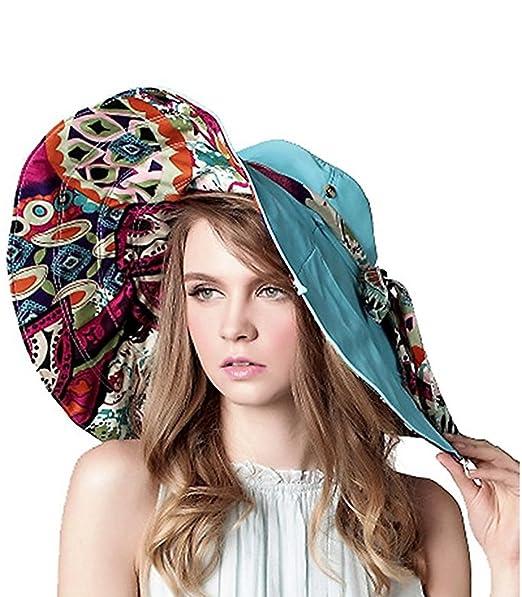 ea0d01673e0 Lanzom Womens Large Brim Floppy Foldable Roll up Beach Cap Sun Hat UPF 50+ (