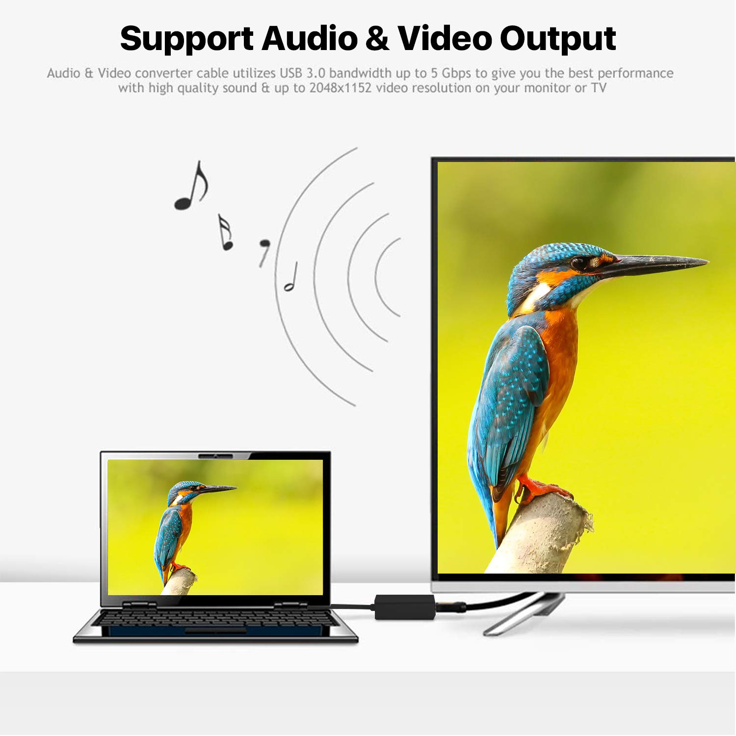USB 3.0 to HDMI 1080P Video Graphics Cable Converter with Audio Output for Multiple Monitors NO MAC /& Vista USB to HDMI Adapter Compatible with Windows XP//7//8//8.1//10