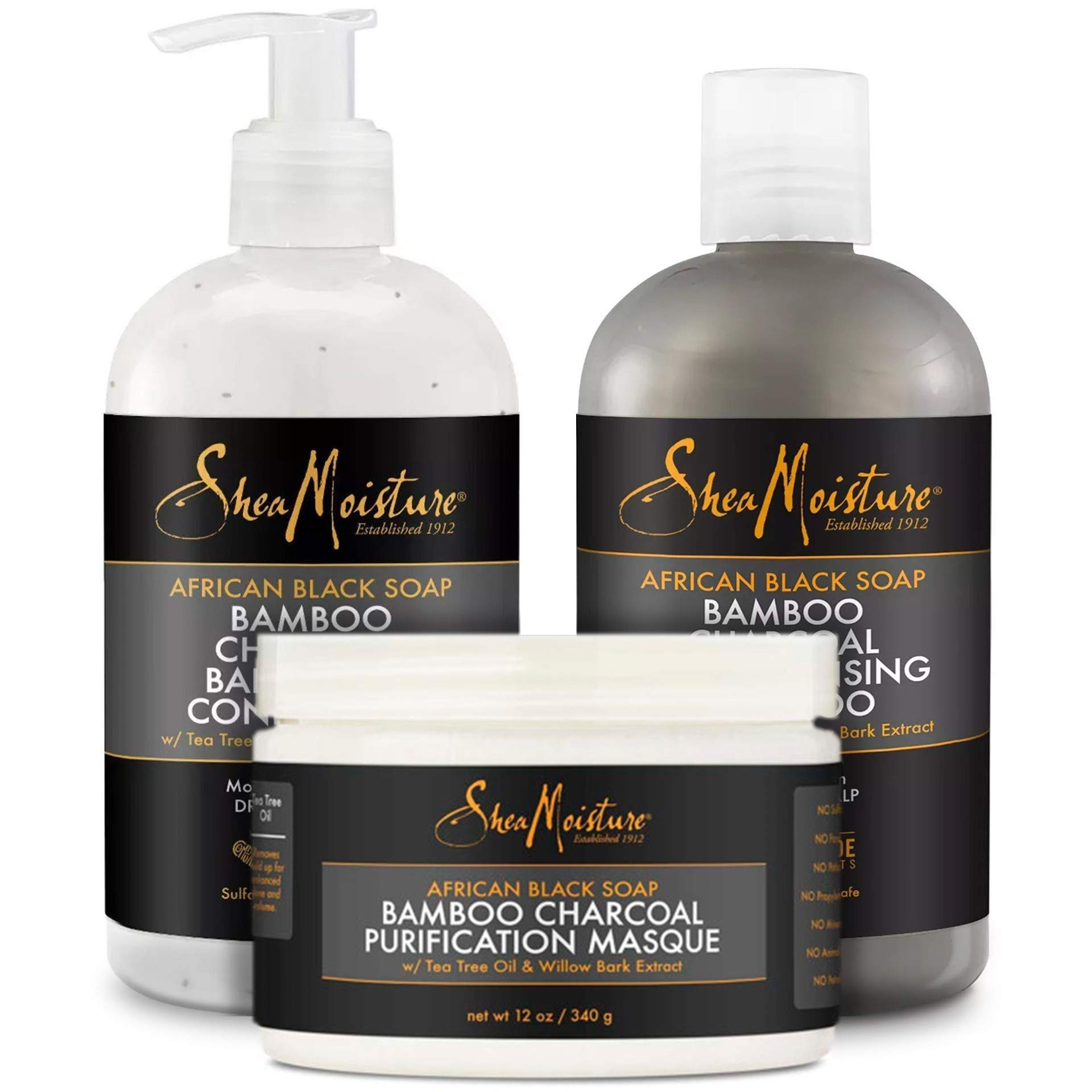 Shea Moisture Shampoo, Conditioner and Masque Set, African Black Soap Bamboo Charcoal Deep Cleansing Shampoo 13 Ounce, Conditioner 13 Ounce, Masque 12 Ounce