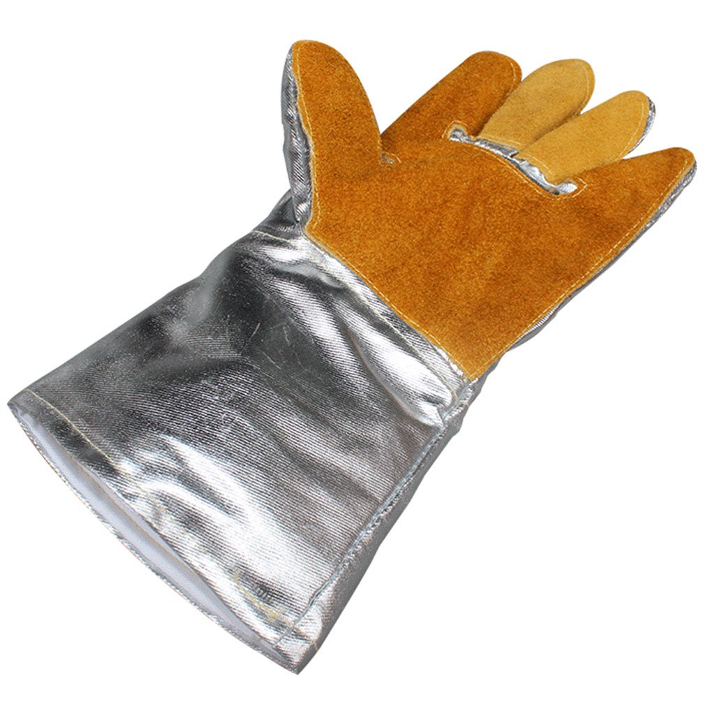 MOOLO Fireproof gloves Aluminum Foil Heat-resistant Gloves Welding Welder Gloves Insulation Radiation Protection