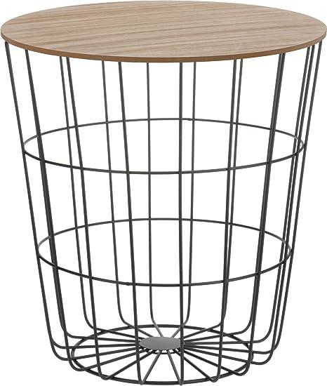 Spetebo Dynamic24 Table dappoint Design en m/étal avec Couvercle en Bois et Plateau d/écoratif
