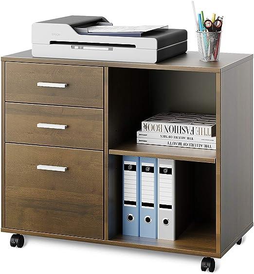 Devaise Mobiler Buro Aktenschrank Buro Rollcontainer Drucker Stander Schrank Mit 3 Schubladen Und Regal Fur Schreibtisch Holz Hellbraun Amazon De Kuche Haushalt