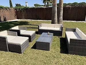 Kiefergarden Conjunto de Muebles de Exterior para Jardín o Terraza Que Incluye 2 Sofás de Jardín Exterior de 3 Plazas, 2 Sillones con 2 Taburetes Otomanos y Dos mesas en Ratán Sintético