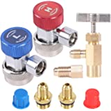 "JIFETOR AC R134A Adjustable Quick Coupler Adapter and Refrigerant Can Tap Valve Tool Kit, Auto HVAC High Low Connectors with 1/4"" Male Flare, Freon Bottle Opener Dispenser with Tank Adapter"