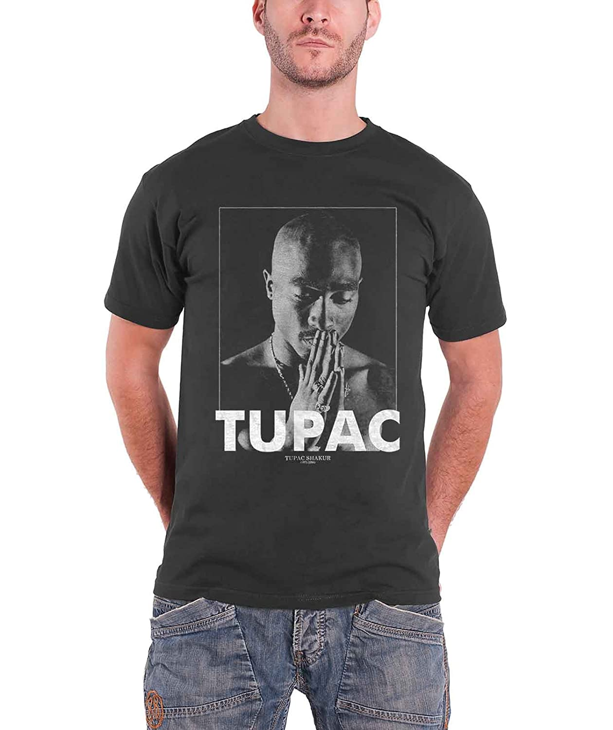 242952f4c Amazon.com: Tupac T Shirt 2Pac Praying Logo All Eyez On Me Official Mens  Grey: Clothing