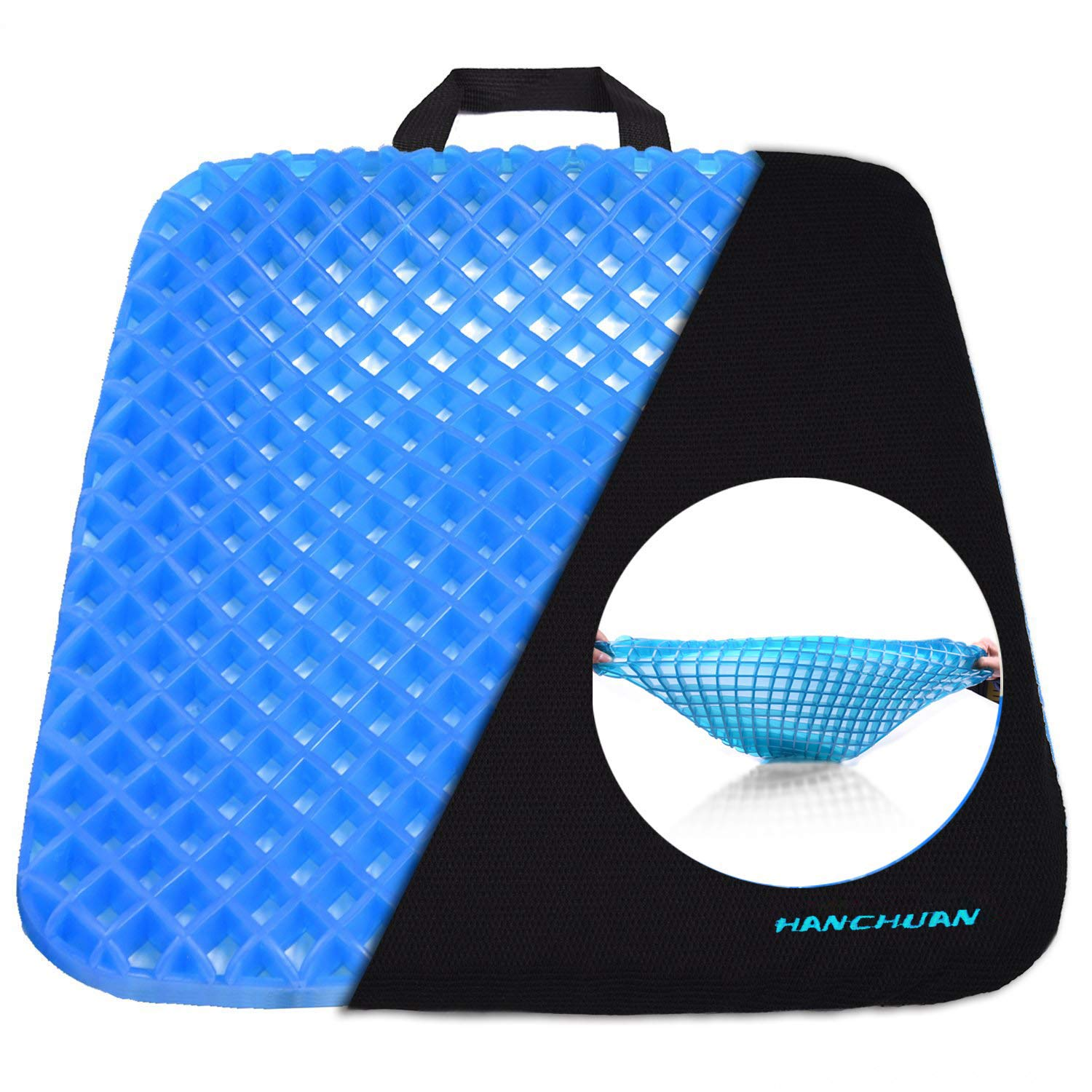 HANCHUAN® Gel Seat Cushion Coccyx Seat Support All Gel Cushion Air Circulation and Advanced Elastic Comfort Gel Sitter Cushion Ergonomic Designed for Office Chair, Car Seat and Wheelchair by HANCHUAN