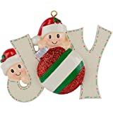 JOY Family of 2 Personalized Ornaments