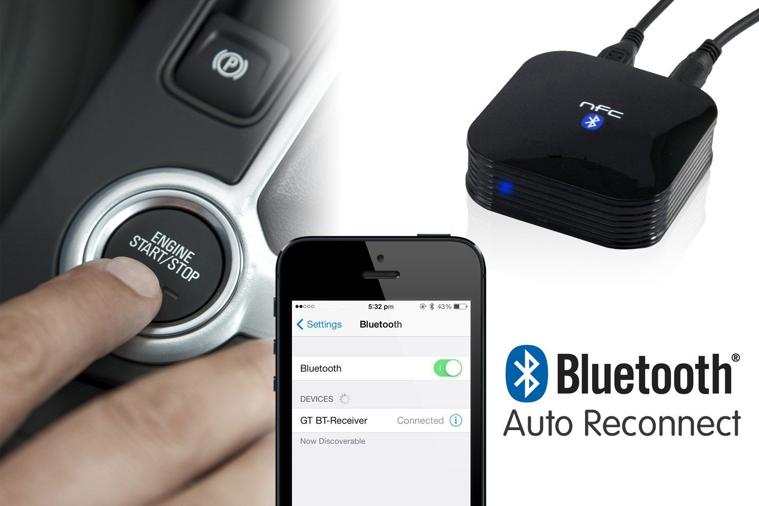 HomeSpot NFC-Enabled Wireless Bluetooth Audio Receiver for Car Audio Bluetooth Auto-Reconnect with White 3-Port Car Charger