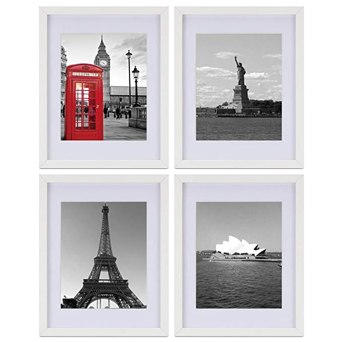 One Wall Tempered Glass 11x14 Picture Frame Set Of 4 With Mats For 8x10, 5x7 Photo, White Wood Frame For Wall And Tabletop   Mounting Material Included by One Wall