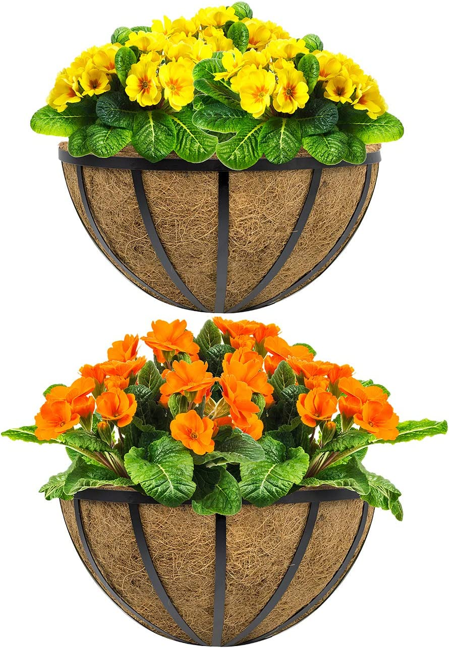 Sorbus Half Moon Wall Planter Baskets with Coco Liner, Vertical Garden Wall Hanging Planters for Flowers, Plants, etc, Decorative for Fence, Rail, Patio, Deck, Black Metal Half Planter – 15.75
