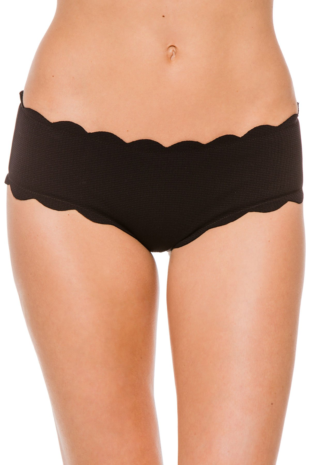 Marysia Women's Antibes Scallop Spring Boyshort Bikini Bottom Black M by Marysia