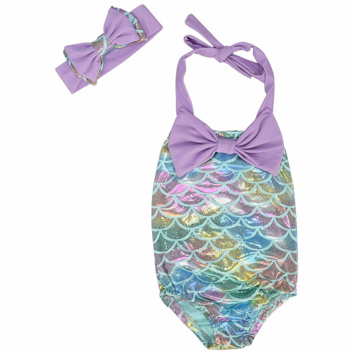 Unique Baby Girls Mermaid Scale Bathing Suit and Headband (Blue, 5/L) by Unique Baby (Image #2)