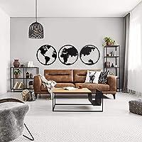 ODUN ARTS - Globos Mundo - Cuadros Decorativos de Madera - Decoración de Pared - 62cm de diámetro Cada Globo X 1 cm de Espesor - Negro