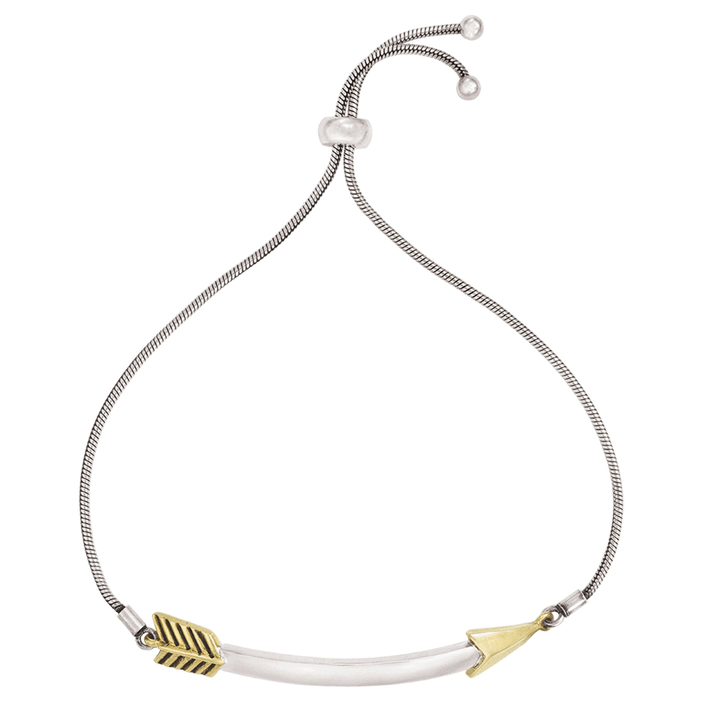 Silpada 'Curved Arrow' Bolo Chain Bracelet in Sterling Silver & Brass, 9''