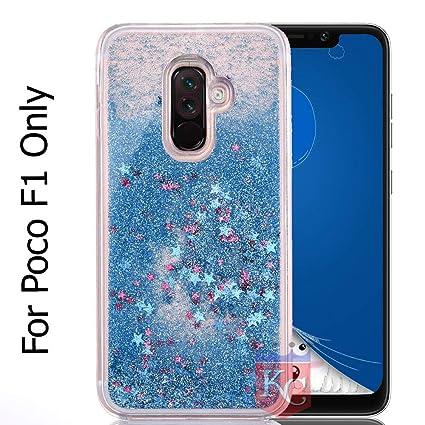 promo code e7265 fa73e KC Liquid Glitter Sparkle Stars Transparent Soft Sides Back Cover for Poco  F1 (Blue)