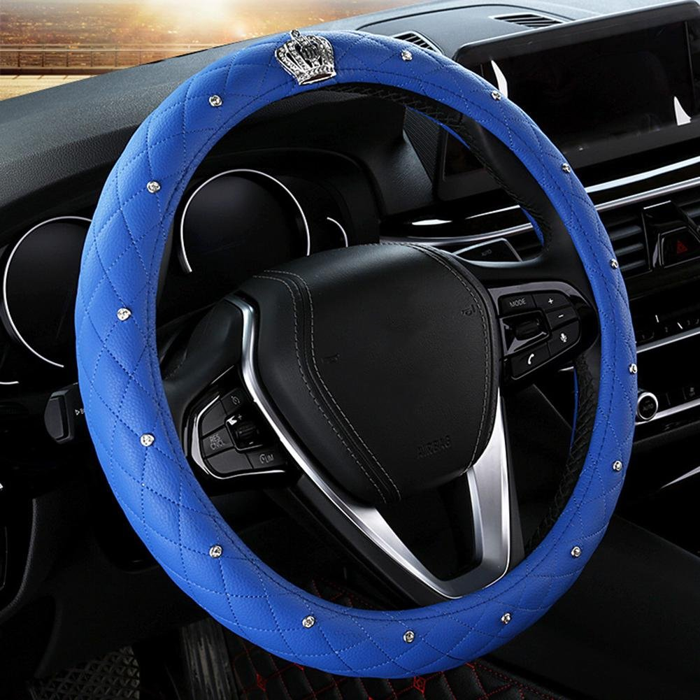 Auto Accessories 2018 Car Steering Wheel Predector, Woman Dedicated Cover Universal 14-1 215-1 8 inch (3738.5 cm), Durable, Breathable, Anti Slip, No Smell, bluee, 38cm