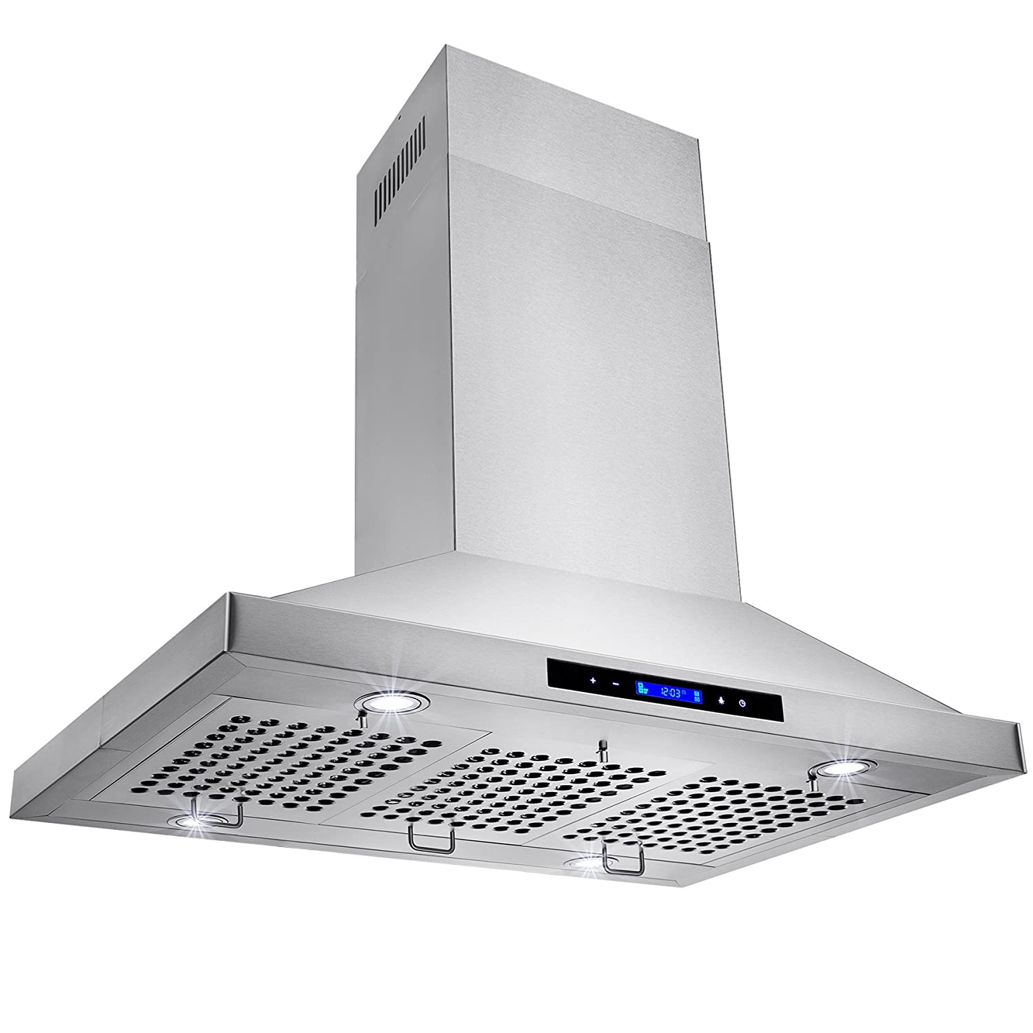 Amazon com golden vantage stainless steel 36 euro style island mount range hood lcd screen gv gl 9002 36 appliances