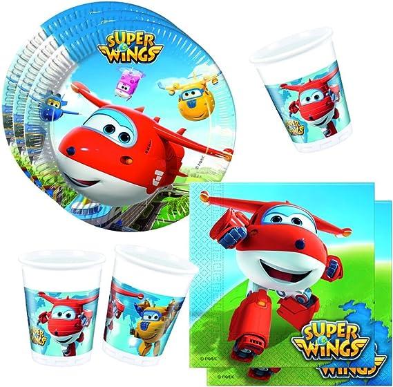 Super Wings Establecer Vajilla Desechable Platos Tazas Servilletas: Amazon.es: Juguetes y juegos