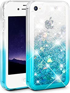 Ruky iPhone 4 Case, iPhone 4S Case, Gradient Quicksand Series Glitter Flowing Liquid Floating Protective Shockproof Clear TPU Girls Case for iPhone 4 4S (Gradient Teal)