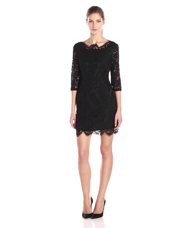 Glamorous Women's Lace Sleeve Dress, Black, Small