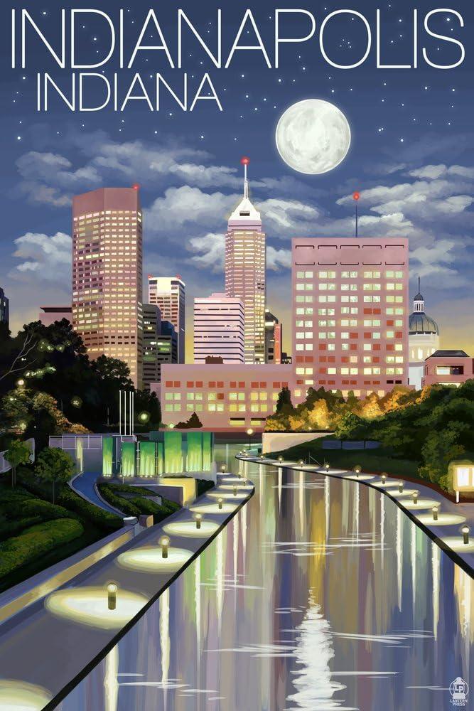 Indianapolis, Indiana - Indianapolis at Night (12x18 Art Print, Wall Decor Travel Poster) by Lantern Press