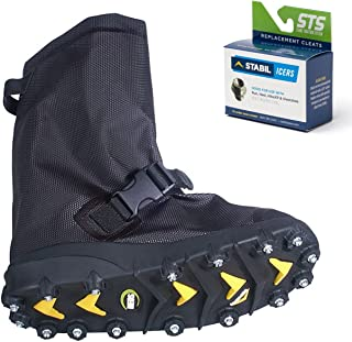 STABILicers Voyager Overshoe with Traction Cleats for Ice & Snow, Fits Over Shoes/Boots, Made in USA, 25 Replacement Cleats Included