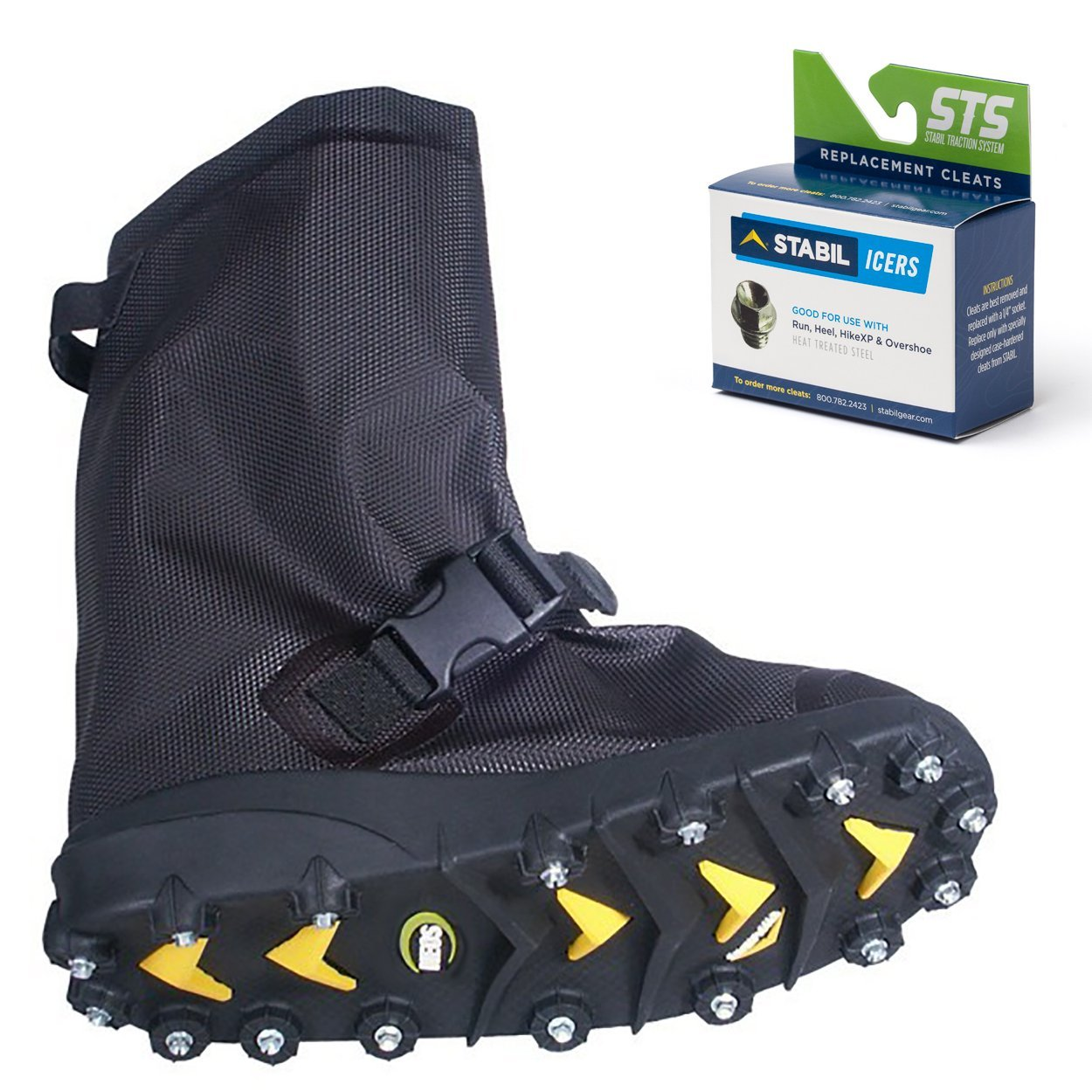 STABILicers Voyager Overshoe with Traction Cleats for Ice & Snow, Fits Over Shoes/Boots, Made in USA, 25 Replacement Cleats Included, Size XL