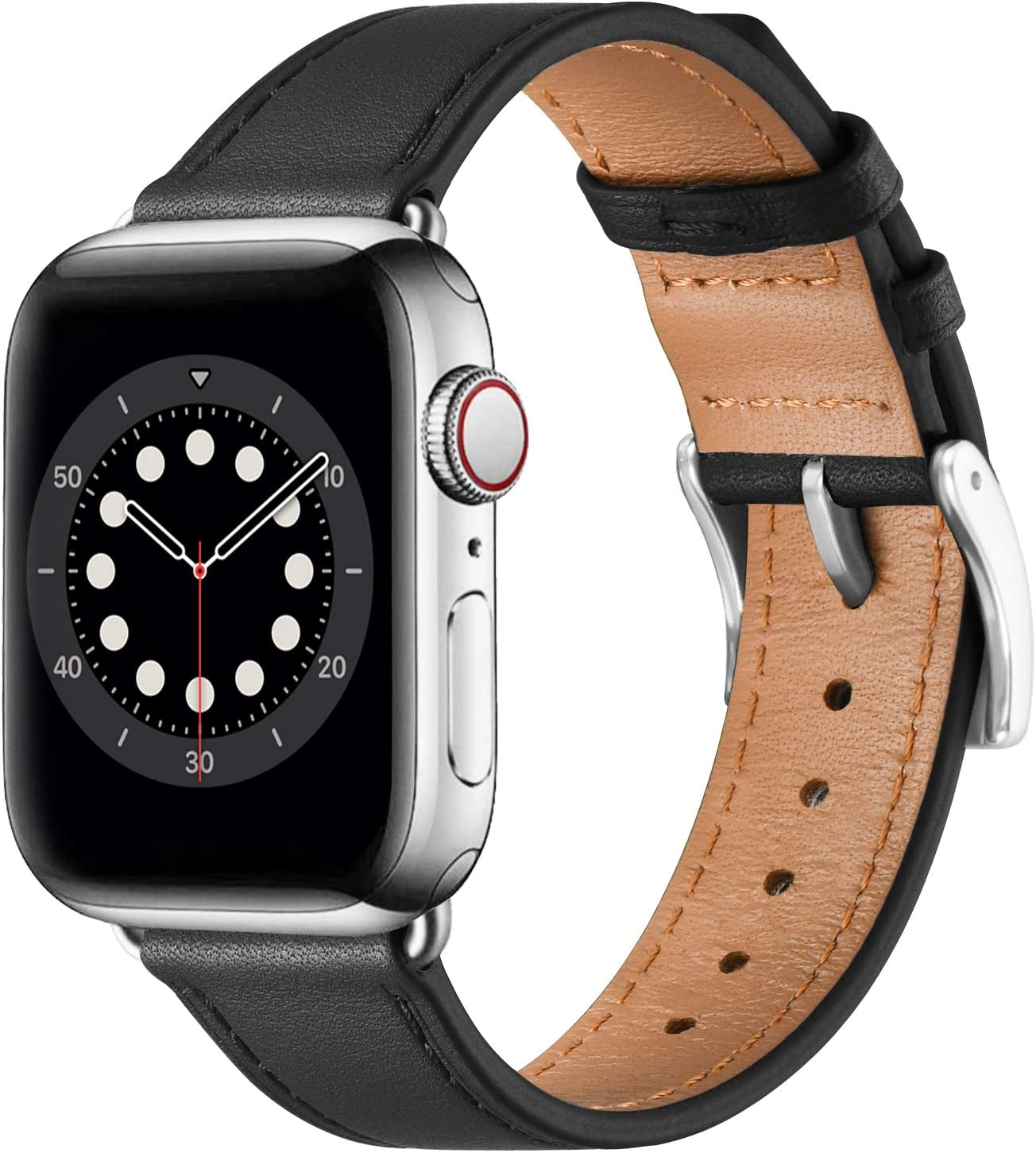 BesBand Compatible with Apple Watch Bands 44mm 42mm 40mm 38mm, Genuine Leather Business Replacement Bands Loop Men Women for iWatch SE & Series 6/5/4/3/2/1(Black/Silver,38mm/40mm)