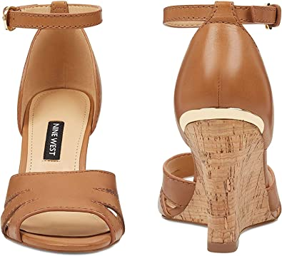 NINE WEST Womens Lilly Leather Open Toe Ankle Strap Wedge Pumps