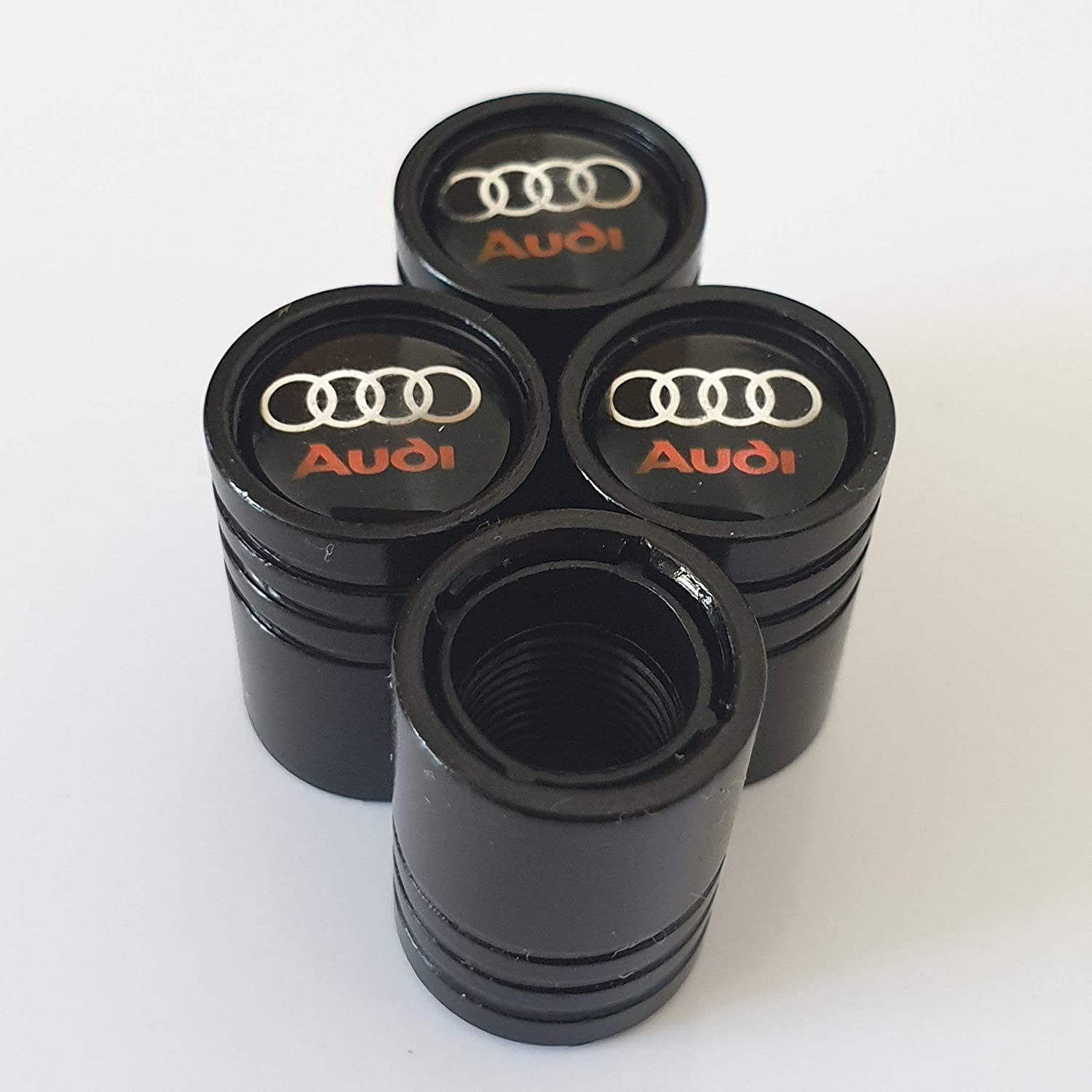Speed Demons/® AUDI BLACK DELUXE CAR VALVE TYRE DUST CAP EXCLUSIVE TO US A1 A3 A4 A5 A6 A7 A8 Q3 Q5 Q7 TT R8 RS E-TRON S LINE RS4 RS5 RS6