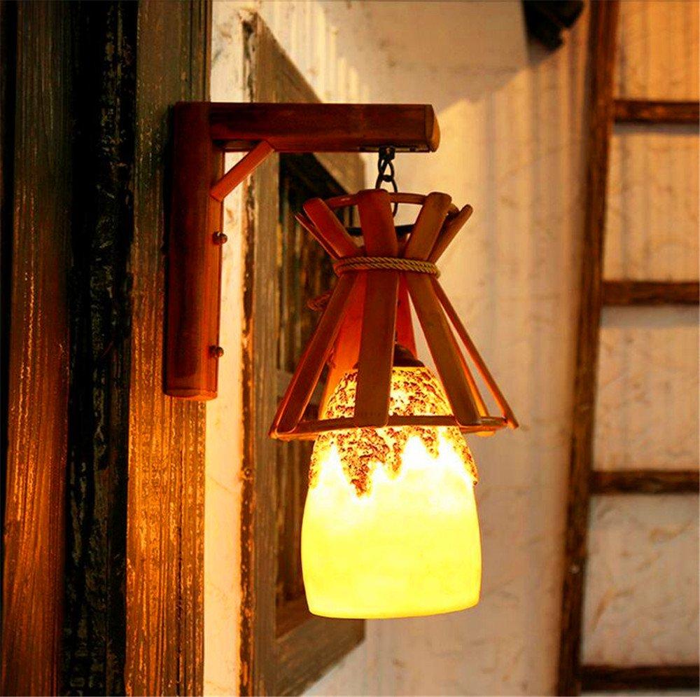 JLXMZX Europäischen Stil kreative Wandleuchte pastoralen Stil handgefertigten Bambus Wandleuchte korridor Gang Cafe bar Harz Wandleuchte Größe  20  40 (cm)