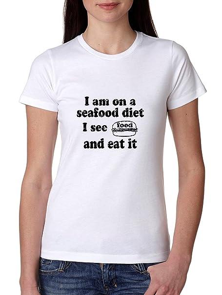 Fake dieta – I ver alimentos & I comer se – gracioso camiseta de algodón de