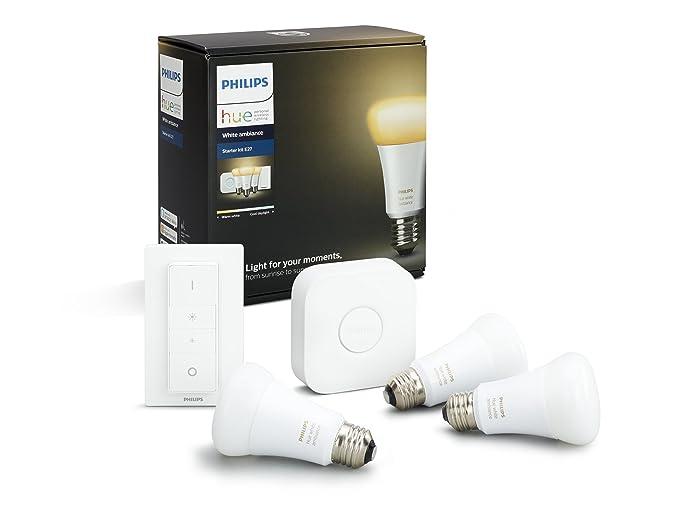 Philips Hue Kit de Démarrage White And Ambiance avec 3 X E27 - 9W [Pont et Interrupteur avec Variateur Inclus] - Fonctionne avec Alexa
