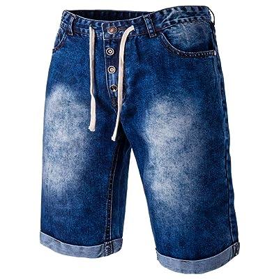 Coper Men's Summer Cool Drawstring Casual Jeans Fashion Knee Length Pants
