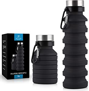 Zulay Portable Water Bottle Collapsible and Foldable Design - Food-Grade Silicone Collapsible Water Container- Leak Proof Collapsible Water Bottle with Carabiner (18oz)