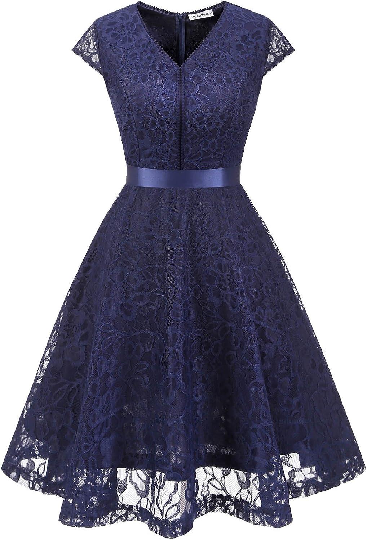 TALLA XL. MUADRESS Fashion Vestido Corto De Fiesta Elegante Mujer De Encaje Escote en V Estampado Flor Vestido Boda Cóctel Marino XL