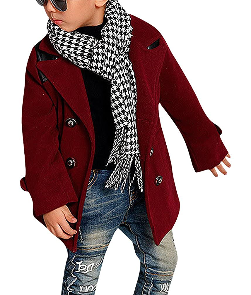 Sweety Boys Solid Color Double Breasted Turndown Collar PU Detail Wool Coat