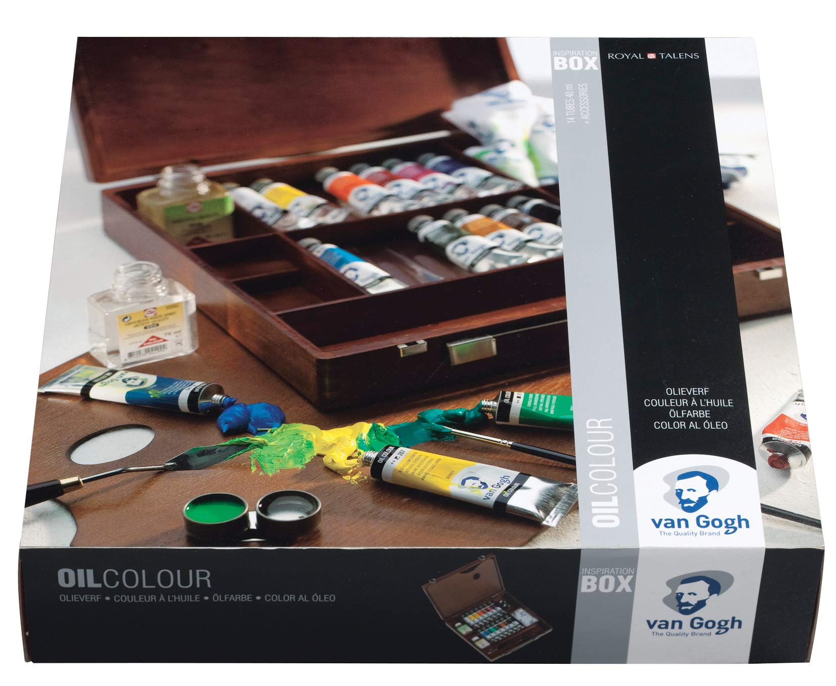 Van Gogh Oil Color Paint, 14x40ml Tubes + Accessories, Wooden Box Inspiration Set by Van Gogh