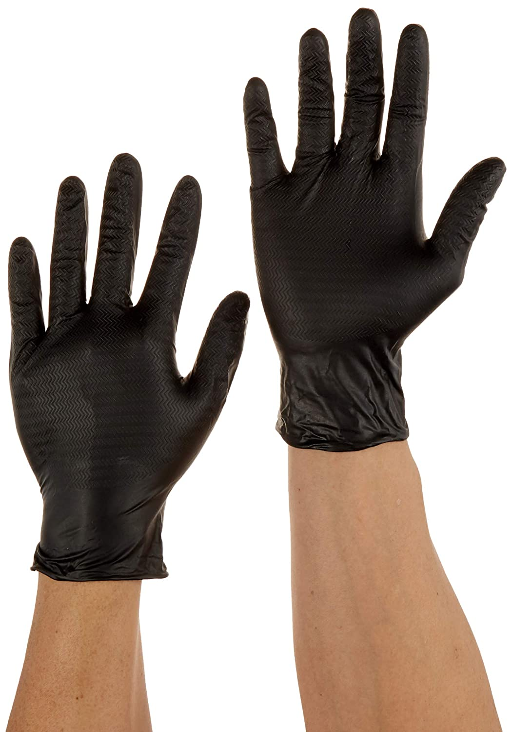 Tyre-Tread Textured Size M 1000 7 mil Black 10 Boxes of 100 240mm Commercial Powder Free Disposable Nitrile Gloves
