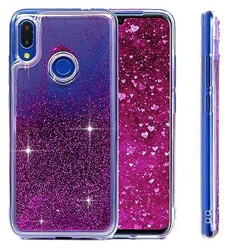 MUSESHOP Funda Xiaomi Redmi Note 7, Purpurina Líquida Que Fluye Cubierta Brillante Carcasa Liquida Cristal TPU Gel Fina Arenas Movedizas - Morado